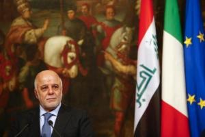 Iraqi Prime Minister Haider Al-Abadi looks on during a joint news conference with Italian Prime Minister Matteo Renzi at the end of a meeting at Chigi Palace in Rome, Italy February 10, 2016.