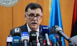 Fayez al-Sarraj speaks at a press conference in Tripoli. Photograph: Stringer/AFP/Getty Images