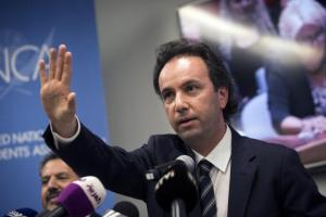 President of the Syrian National Coalition Khaled Khoja delivers remarks regarding Russian air strikes on Syria at the United Nations in Manhattan, New York September 30, 2015. Russia launched air strikes in Syria today in the Kremlin's biggest Middle East intervention in decades. REUTERS/Andrew Kelly - RTS2IBM