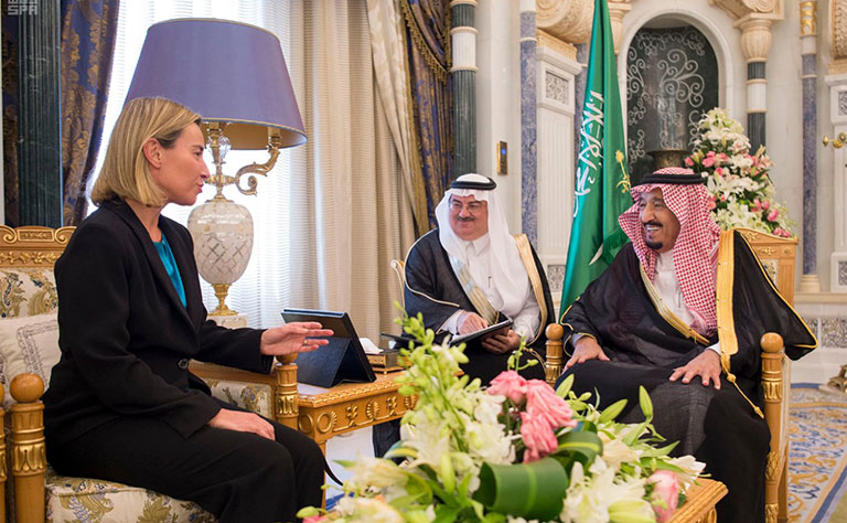 Custodian of the Two Holy Mosques Holds Talks with EU's High Representative Federica Mogherini