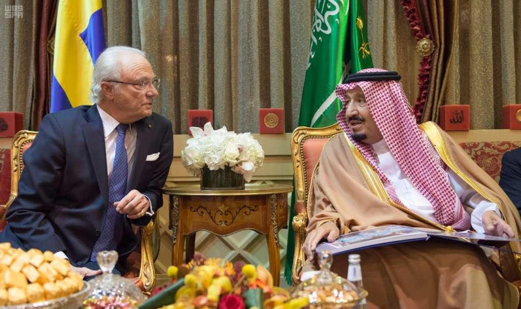 Saudi King Salman Receives King of Sweden