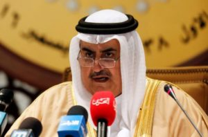 Bahrain's Foreign Minister Sheikh Khalid Bin Ahmed Al-Khalifa speaks at a press conference at the end of the GCC summit in Manama on Wednesday.
