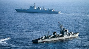 Ships of the Chinese People's Liberation Army Navy on maneuvers in the South China Sea, May 5, 2016