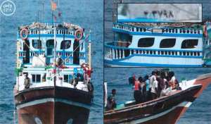 Confiscated Iranian fishing boat smuggling weapons bound for Yemen. SPA