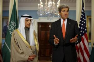 U.S. Secretary of State John Kerry and Saudi Foreign Minister Adel al-Jubeir deliver a statement after a meeting at the State Department in Washington