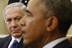 President Barack Obama (R) meets with Israeli Prime Minister Benjamin Netanyahu at the White House in Washington, October 1, 2014.