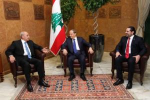 Lebanon's President Michel Aoun meets with Prime minister-designate Saad al-Hariri and Parliament Speaker Nabih Berri at the presidential palace in Baabda