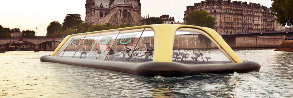 Floating Gym Powered by Human Energy in Paris