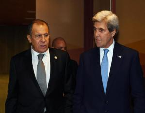 Russian Foreign Minister Sergey Lavrov (L) and U.S. Secretary of State John Kerry leave after their bilateral meeting at the APEC Ministers Summit in Lima, Peru November 17, 2016. REUTERS/Mark Ralston/Pool - RTX2U831