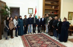 President Aoun with families of the kidnapped soldiers