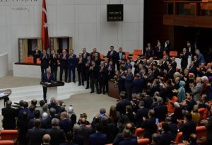 Turkey's Prime Minister and the leader of ruling AK Party Binali Yildirim makes a speech following the approval of a constitutional reform bill at the Turkish parliament in Ankara, Turkey, January 21, 2017.