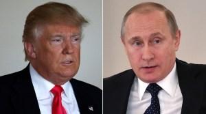 US Republican presidential nominee Donald Trump (L) and Russian President Vladimir Putin