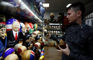 Painted Matryoshka dolls bearing faces of U.S. Republican presidential nominee Trump and other political leaders are displayed for sale at souvenir shop in Moscow