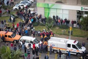 Rescue teams arrive at the scene after an explosion outside a courthouse in Izmir