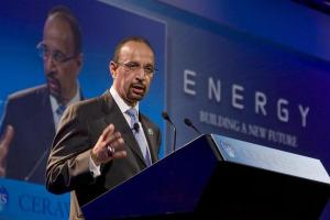 Khalid al-Falih speaks during his keynote address at the CERA Week 2010 energy conference in Houston March 9, 2010.