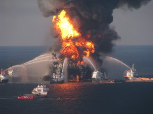 Image from a video footage shows an oil platform on fire in the Caspian Sea. Reuters
