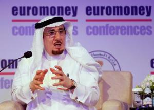 Saudi Labour Minister Mufrej al-Haqbani gestures as he speaks during a Euromoney conference in Riyadh