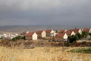 Houses are seen in the West Bank Jewish settlement of Karmel, near Hebron