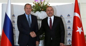 Russian Foreign Minister Sergei Lavrov and his Turkish counterpart Mevlut Cavusoglu. Reuters