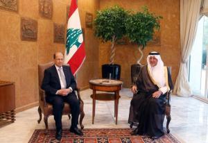 Lebanese president Michel Aoun meets with Saudi Arabia's Prince Khaled al-Faisal inside the presidential palace in Baabda, near Beirut, Lebanon November 21, 2016. REUTERS/Mohamed Azakir
