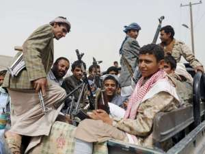 Houthi militants near Sanaa airport. Reuters