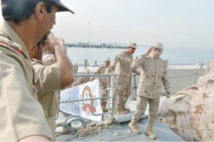 Chief of the General Staff Gen. Abdurrahman Al-Bunyan greets the warship's crew of officers and non-commissioned officers at King Faisal Naval Base of the Western Fleet in Jeddah on Sunday.