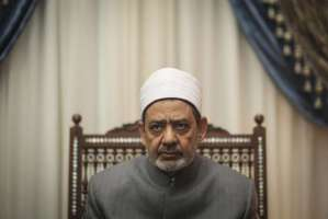 In this June 2015 file photo, Ahmad Al-Tayeb, Grand Imam of Al-Azhar poses for a photograph in his office, in Cairo, Egypt. The Council of Senior Clerics in Al-Azhar has rejected the Egyptian president's suggestion for legislation that would invalidate the practice of men verbally divorcing their wives.