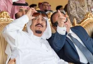 Egypt's President Abdel Fattah al-Sisi and Saudi King Salman bin Abdulaziz watch the Northern Thunder exercises in Hafr Al-Batin.