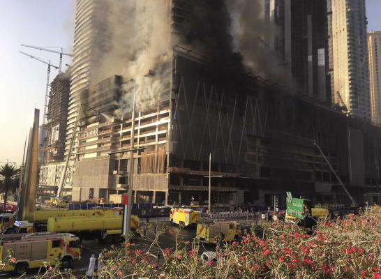 Firefighters Control Blaze in Tower still Under Construction in Dubai