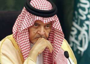 A file picture taken in the coastal city of Jeddah, on October 13, 2014, shows Saudi Foreign Minister Prince Saud al-Faisal looking on during a press conference.