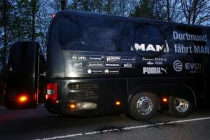 FILE PHOTO: The Borussia Dortmund team bus is seen after an explosion near their hotel before the game