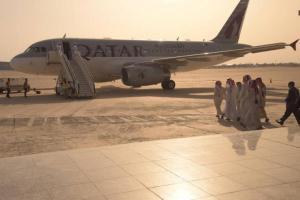 Hostages depart Baghdad International Airport in Baghdad
