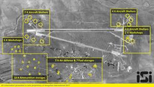 The Syrian Shayrat airfield base is pictured in an undated before and after satellite imagery.