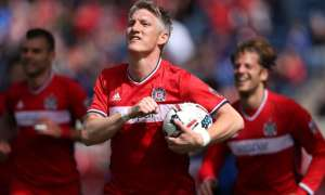 Bastian Schweinsteiger opened his account for the Fire with a powerful header. Photograph: USA/REX/Shutterstock
