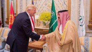 U.S. President Donald Trump shakes hands with Bahrain's King Hamad bin Isa Al Khalifa at the Gulf Cooperation Council leaders summit in Riyadh
