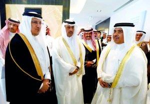 SAMA Governor Dr. Ahmed al-Kholifey Ahmed al-Kholifey (left); Chief Business Officer & Executive General Manager at QNB Abdulla Mubarak Al Khalifa (centre); and QNB Group Chief Executive Ali Ahmed al-Kuwari attending the inauguration of QNB's branch in Riyadh, yesterday.