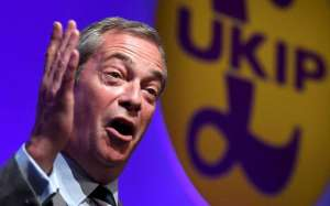Nigel Farage speaking at the the United Kingdom Independence Party (UKIP) annual conference in Bournemouth, Britain, in September.