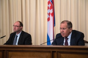 Russian Foreign Affairs Minister Sergei Lavrov speaks during a joint news conference with Croatian Deputy Prime Minister and Minister of Foreign and European Affairs Davor Ivo Stier in Moscow on Tuesday.