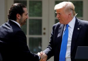 US President Donald Trump shakes hands with Lebanese Prime Minister Saad al-Hariri during a press conference in the Rose Garden of the White House in Washington, US, July 25, 2017