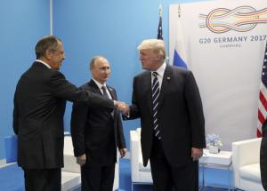 US President Trump meets with Russian President Putin and Foreign Minister Lavrov on the sidelines of the G20 summit in Hamburg