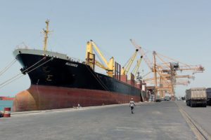 A ship is docked at the Red Sea port of Hodeidah, Yemen, March 23, 2017.