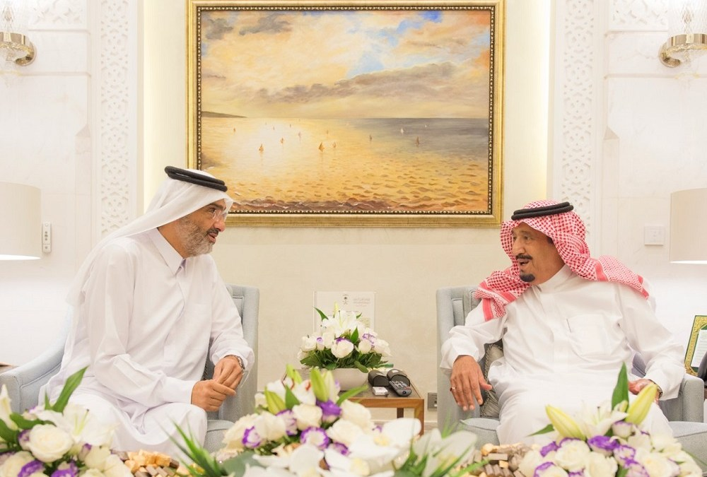 King Salman Holds Talks with Sheikh Abdullah bin Ali Al Thani