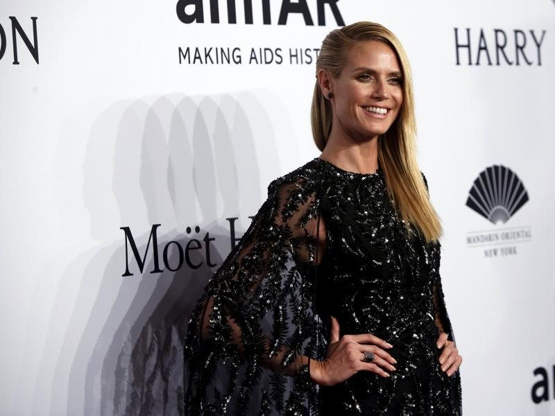 Heidi Klum Launches New Fashion Line at a Supermarket in Vienna