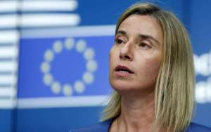 EU foreign policy chief Mogherini addresses a news conference during a EU foreign ministers meeting in Brussels