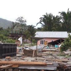 Many houses and buildings in Boladangko village collapsed or badly damaged