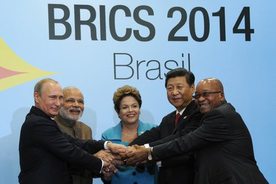 BRICS Summit participants: Vladimir Putin, Prime Minister of India Narendra Modi, President of Brazil Dilma Rousseff, President of China Xi Jinping and President of South Africa Jacob Zuma.