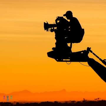 映画撮影のシルエット
