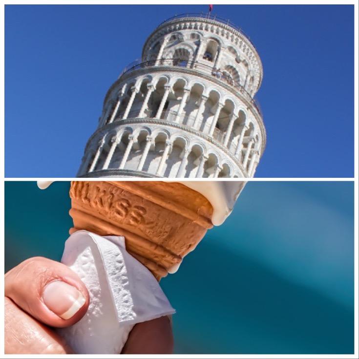 ice cream + tower of pisa