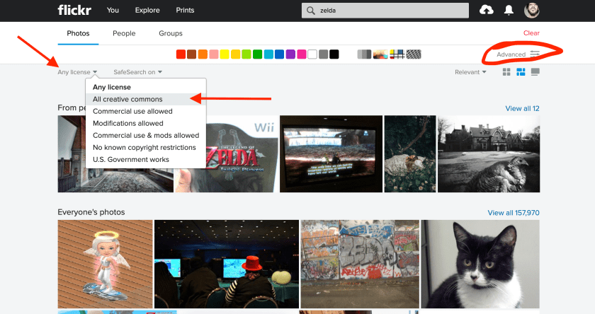 A screenshot of the Flickr search page, showing the Advanced tab and then the selector to search only licensed images.