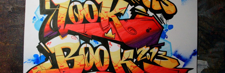 """Graffiti spelling out """"look book"""""""
